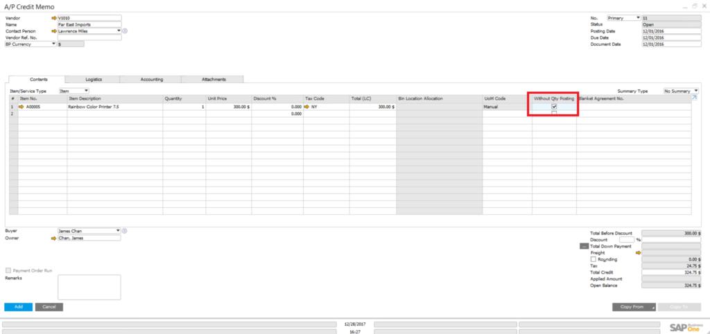 Quantity in Credit Memo in SAP Business One